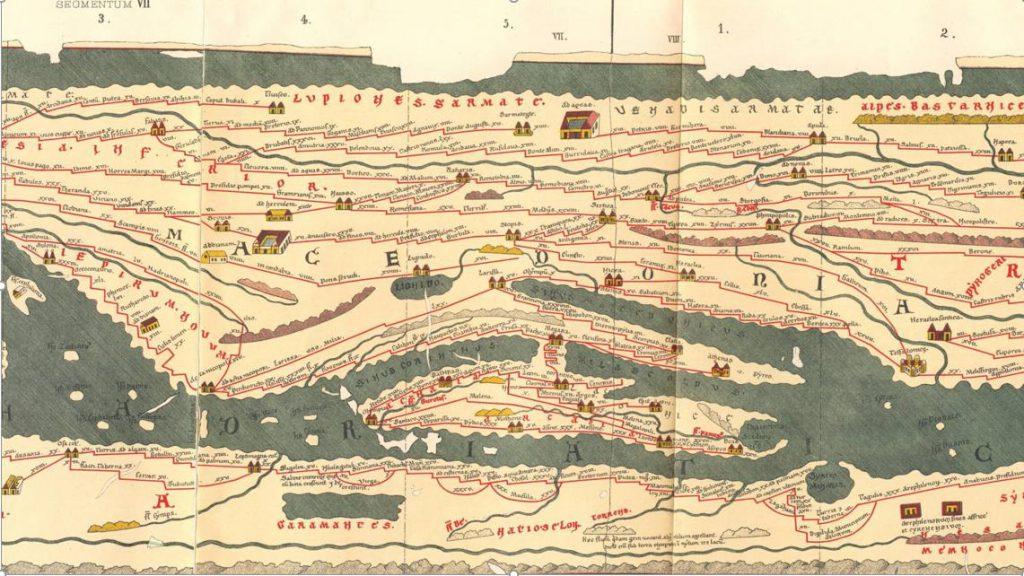 Detail van de Peutingerkaart uit 1887, gebaseerd op de Romeinse 'wegenkaart' die al rond 400 door de Romeinen werd getekend.