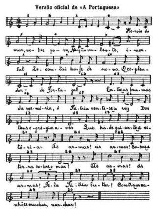 Bladmuziek van A Portuguesa (Publiek Domein   wiki)