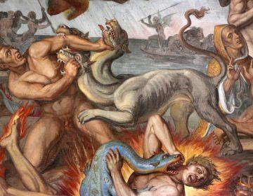 Tafereel in Dante's Inferno - Frsco in Casa Massimo (CC BY 3.0 - Sailko - wiki)