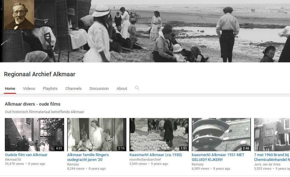 Pagina van Regionaal Archief Alkmaar op YouTube die inmiddels niet meer toegankelijk is