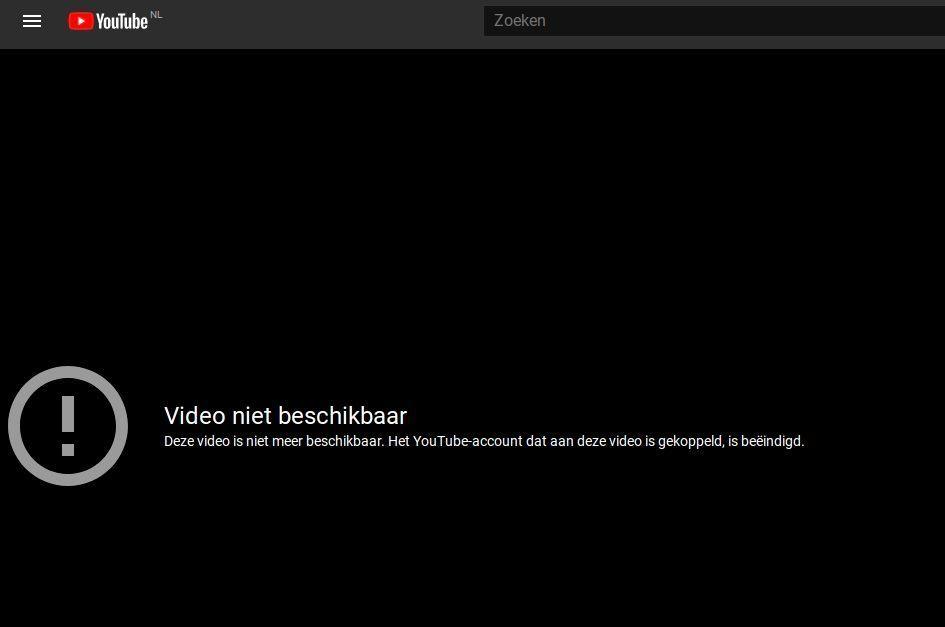 De video's van de archiefinstelling zijn niet meer te bekijken op YouTube