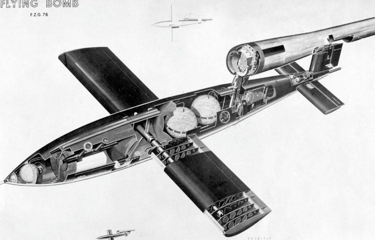 Doorsnede van een Duitse V1-bom (Publiek Domein - wiki)