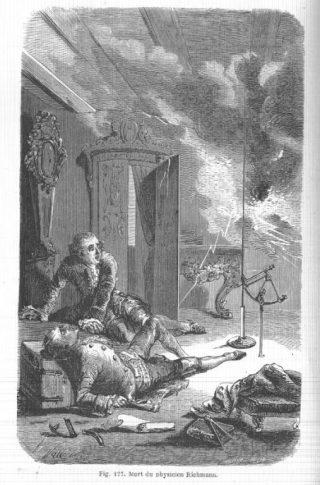 Kopergravure van de dood van de natuurkundige Georg Wilhelm Richmann, nadat hij in 1753 in Sint Petersburg het experiment van Franklin over wilde doen.