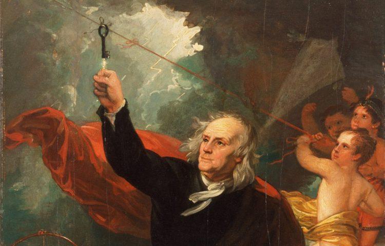 Benjamin Franklin onttrekt elektriciteit aan de lucht door middel van een vlieger. (1816, Benjamin West)