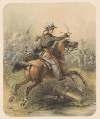 Prins van Oranje tijdens de Slag bij Waterloo volgens Theodore Schaepkens (Collectie Rijksmuseum)
