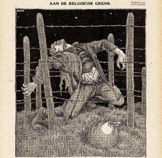 De uitwerking van de 'Dodendraad' langs de Belgische grens, geïllustreerd door karikaturist Albert Hahn in  'De Notenkraker'.