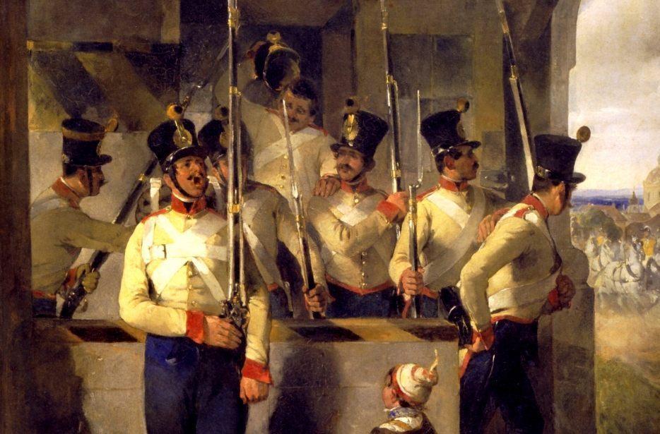Op je qui-vive zijn | Schildwachten - Detail van een schilderij van Carl Schindler, 1839