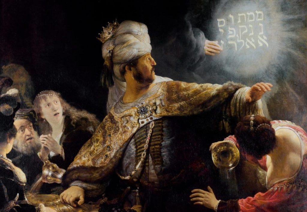 Een teken aan de wand - Het feestmaal van Belsazar - Rembrandt, 1635 (Publiek Domein - wiki)