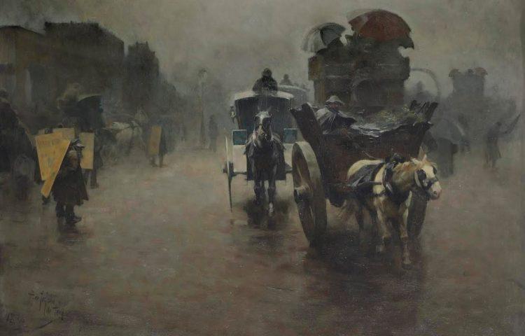 Pieter de Josselin de Jong (Sint-Oedenrode 1861-1906 Amsterdam) - Londen: koetsjes in de mist, 1888 - Olieverf op paneel, 70 x 100 cm (Panorama Mesdag)