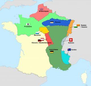 Het grootste deel van Frankrijk werd in 1815 verdeeld in militaire bezettingszones. (Wiki Commons)