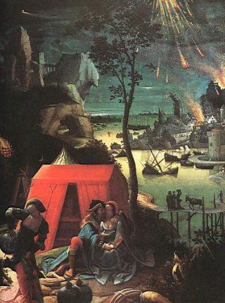 Lucas van Leyden, Lot en zijn dochters (ca. 1509). Rechts de verwoesting van Sodom.