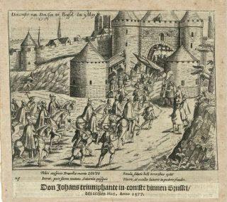 Blijde Intrede van Don Juan in Brussel op 1 mei 1577. Prent uit 'de Nassausche Oorloghen' van W. Baudartius.