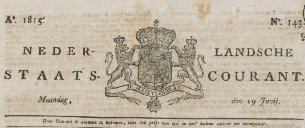 Staatscourant van 19 juni 1815 (Delpher)