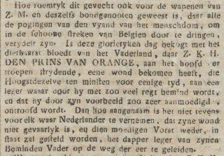 Fragment uit 'De 's Gravenhaagsche courant' - 21 juni 1815 (Delpher)