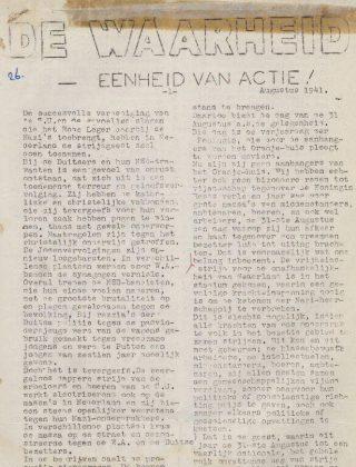 Uitgave van 'De waarheid', 15 augustus 1941 (Delpher)