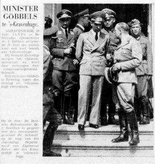 Goebbels in Den Haag - De Telegraaf, 30 juni 1940 (Delpher)