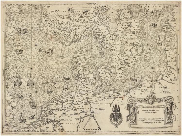 Kopie door Michael Tramezini van de 1543-uitgave van de Caerte van Oostlant, waaruit af te leiden is hoe die eerste uitgave eruitgezien heeft. Particuliere collectie. Uit: De geschiedenis van Nederland in 100 oude kaarten