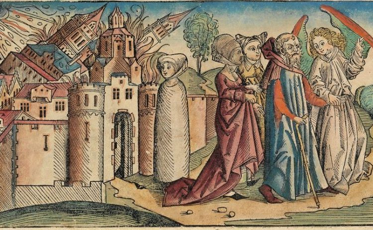 Vernietiging van Sodom - Lot's vrouw is al veranderd in een zoutpilaar - Hartmann Schedel, 1493 (Publiek Domein - wiki)