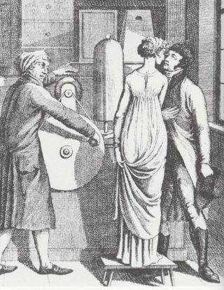 Een kus, die door statische elektriciteit wordt opgewekt, is een schokkende gebeurtenis. (Franse prent, 18e eeuw)