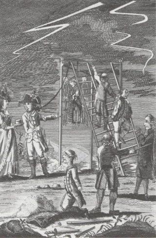 De kennelijke droom van Patriotten in 1784, om een aantal Orangistische BN'ers ter dood te brengen. Zelfs de angst voor blikseminslag is verdwenen. (Politieke prent, 1784)