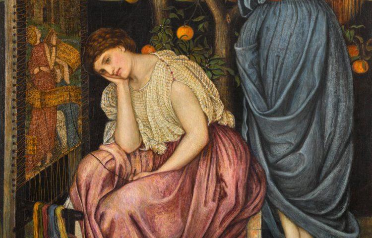 Penelope, wachtend, geschilderd door John Roddam Spencer Stanhope. Publiek Domein