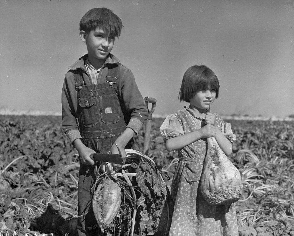 Twee kinderen werken op het land - Nebraska, 1940
