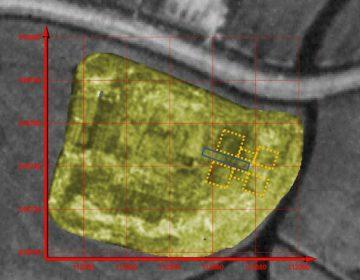 Plek waar de barbacane door middel van geofysisch onderzoek is gevonden. (Gemeente Alkmaar)