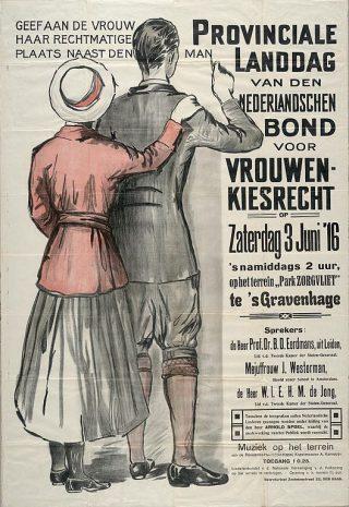 Affiche van de Nederlandsche Bond voor Vrouwenkiesrecht (Publiek Domein - Aletta - wiki)