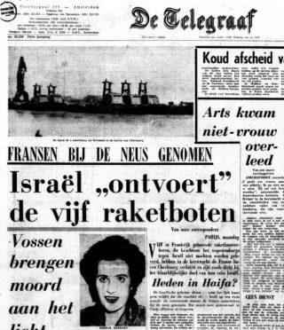 Voorpagina van de de Telegraaf van 29 december 1969 met een bericht over de Israëlische operatie (Delpher)