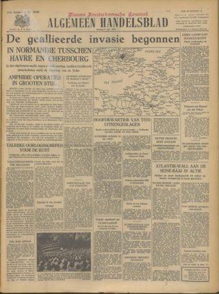 'De geallieerde invasie begonnen'. Algemeen Handelsblad 6 juni 1944 (Bron: Oorlogsbronnen.nl Collectie KB Delpher)