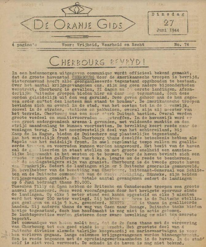 'Cherbourg bevrijd!'. De Oranje gids 27 juni 1944 (Bron: Oorlogsbronnen.nl Collectie KB Delpher)