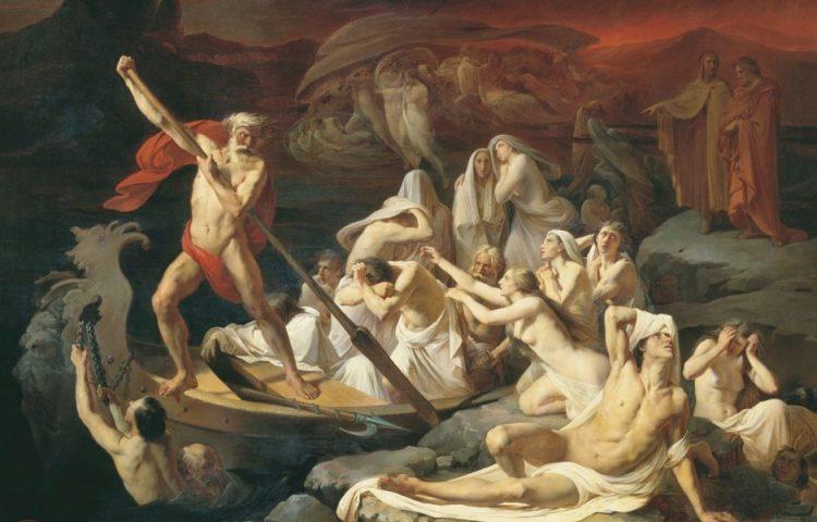 In Charons boot treden - Charon bij de rivier de Styx. Schilderij van Alexander Litovchenko (Publiek Domein - wiki)