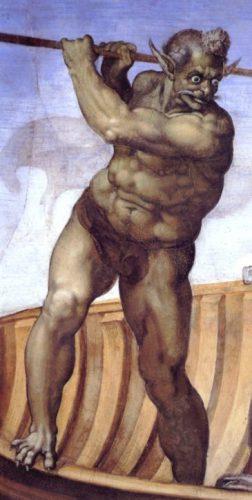 Charon op een fresco van Michelangelo (Publiek Domein - wiki)