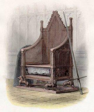 Prent uit de negentiende eeuw van de troon van Eduard I met daarin de Stone of Scone. (Publiek Domein - wiki)