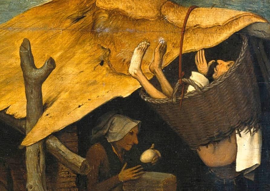 Door de mand vallen - Verbeelding van de uitdrukking op een schilderij van Pieter Brueghel, 1559 (Publiek Domein - wiki)
