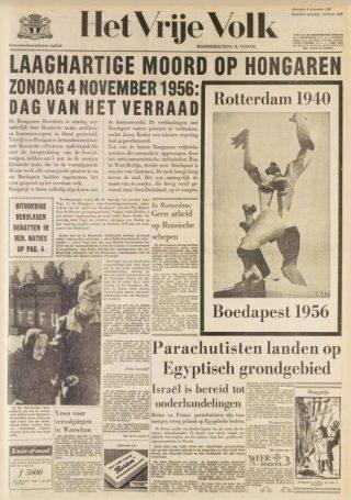 Voorpagina Het Vrije Volk, 5-11-1956 (Delpher)