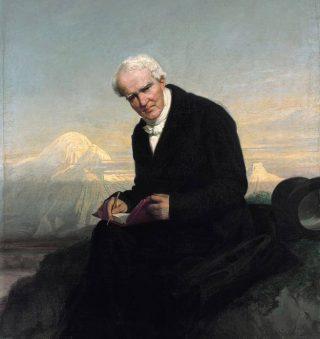 Alexander von Humboldt bij de Chimborazo. Geschilderd in 1859 (Julius Schrader)