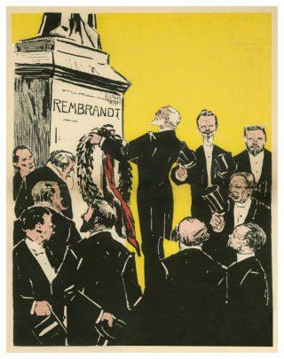 Anoniem, Huldiging bij Rembrandtstandbeeld door kunstenaars van Arti et Amicitiae (fragment), spotprent uit De ware Jacob, 14 juli 1906. Bron: RKD - Nederlands Instituut voor Kunstgeschiedenis.