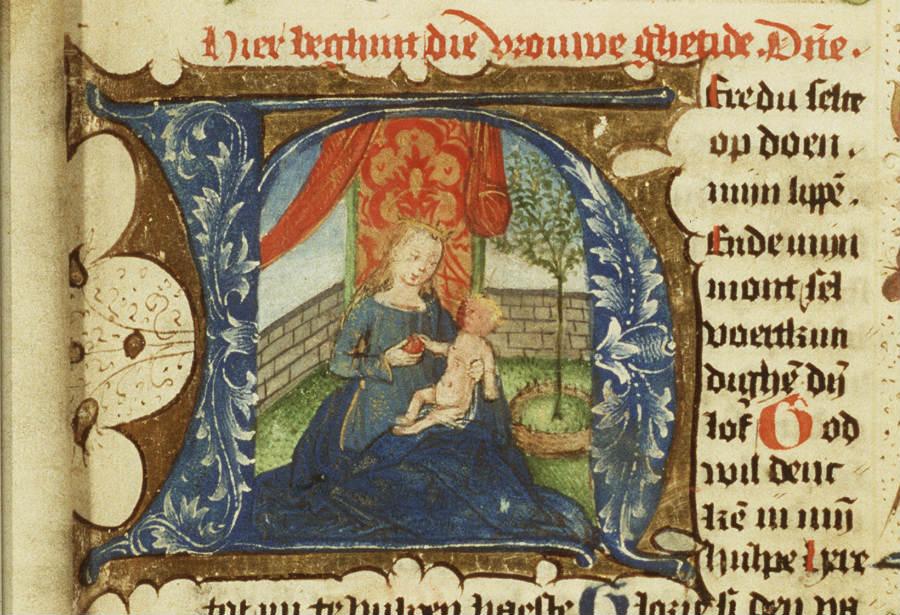 Maria en Christuskind in Hortus conclusus (Koninklijke Bibliotheek, Den-Haag)