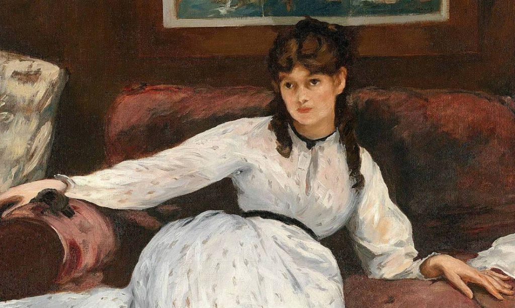 Berthe Morisot op het schilderij 'Le repos' van Édouard Manet, detail (Publiek Domein - wiki)