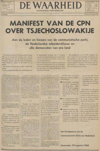 Manifest van de CPN (De Waarheid, 26-8-1968 Delpher)