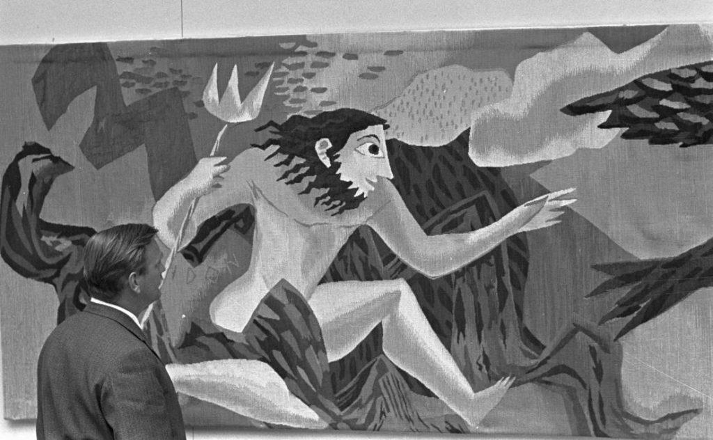 Expositie van wandtapijten van de Rotterdam gemaakt door Gisèle van Waterschoot van der Gracht, juli 1959 (CC) - Harry Pot - Anefo - wiki)