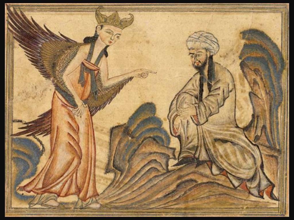 Mohammed met aartsengel Gabriël(Publiek Domein - wiki)
