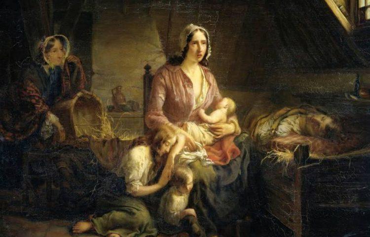Een rijke dame bezoekt een arm gezin. Gerardus Terlaak, 1853. Rijksmuseum