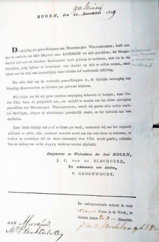 Brief van de burgemeester aan de rijke dames van Hoorn. (Afb: Kees Zwaan)