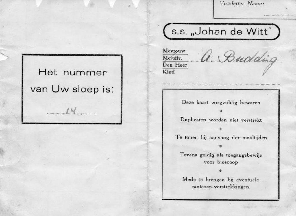 Passagierskaart SS Johan de Witt van Aris (Collectie Janneke Budding)