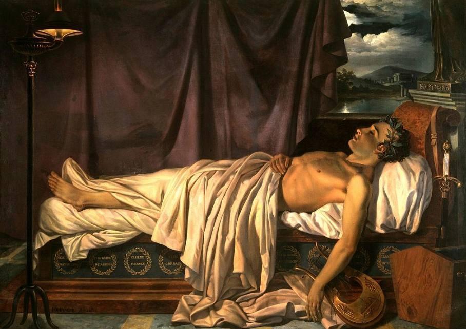 Lord Byron op zijn sterfbed (Joseph-Denis Odevaere, ca. 1826)