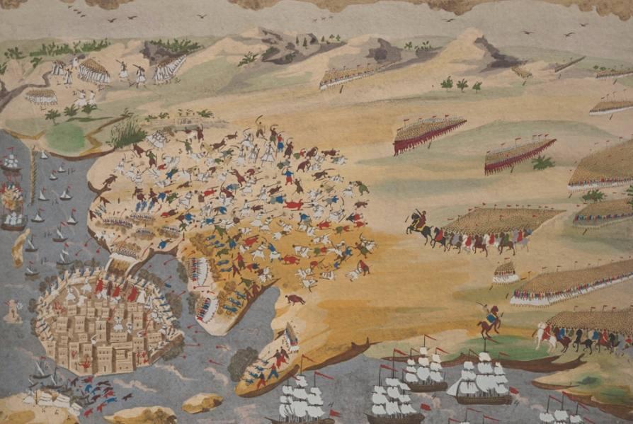 Verbeelding van de uittocht uit Messolonghi - Panagiotis Zographos (Publiek Domein - wiki )