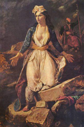 Op de ruïnes van Messolonghi - Eugène Delacroix, 1827 (Publiek Domein - wiki)