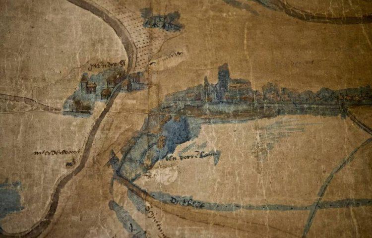 Detail van de 'reuzenkaart' (Regionaal Archief Dordrecht - Jorgen Snoep)